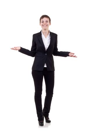 Friendly smiling business woman welcoming. Isolated over white background  Stock Photo - 8041657