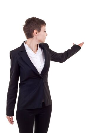 modern business woman presenting something on white background Stock Photo - 8043136