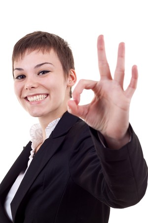 Attractive business woman satisfied with results - ok sign Stock Photo - 8043297