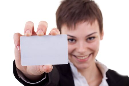 Business woman showing and handing a blank business card, the focus was on the business card. Stock Photo - 8043167
