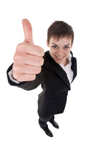 Success woman isolated giving thumbs up sign. Funny business woman in high and wide angle view Stock Photo - 8043194