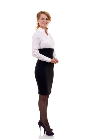 Young happy business woman isolated on white  photo