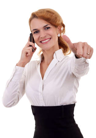 Business woman talking by cell phone and making OK sign Stock Photo - 8198370