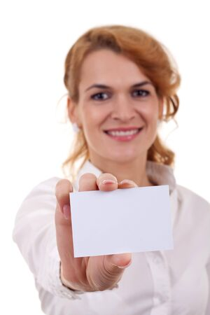 Business woman showing and handing a blank business card. Stock Photo - 8198325