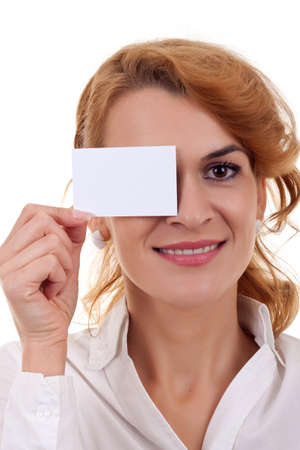 young business woman holding blank card over her eye Stock Photo - 8198528