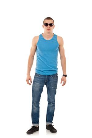stylished young man wearing sunglasses on white background  Stock Photo - 8198322