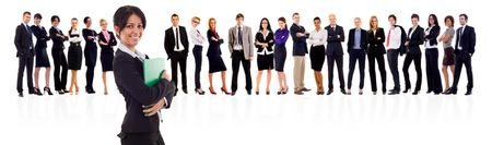 isolated business team holding a portfolio over white Stock Photo - 8198548