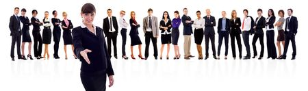 Leader and her team, businesswoman ready to seal the deal Stock Photo - 8198547