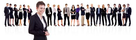 Leader and her team, Young attractive business people Stock Photo - 8198551