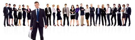 business team lead by a business man wiht a black briefcase Stock Photo - 8198550