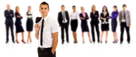 Business team with a relaxed leader with hands in his pockets Stock Photo - 8198542