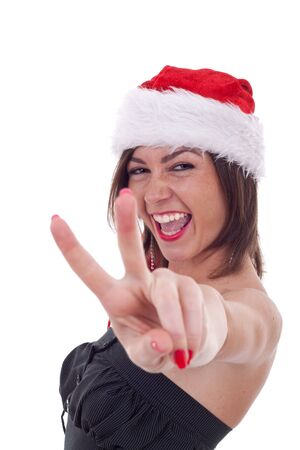 happy santa helper showing victory sign over white  photo