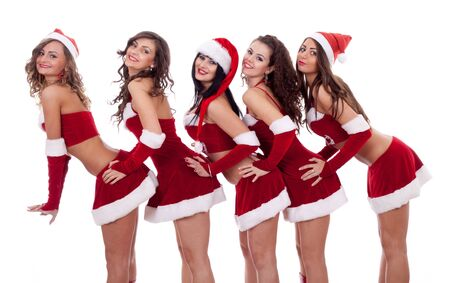 group picture of santa girls posing over white photo