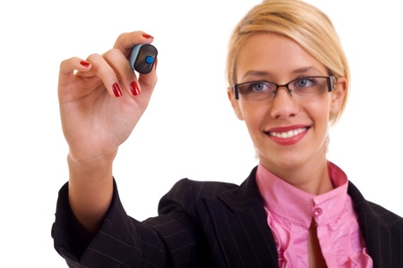 Success business woman with a blue marker in her hand. Stock Photo - 8589879