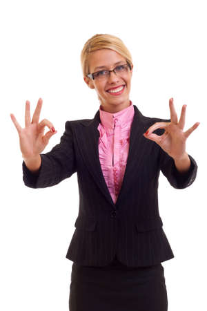 Happy business woman with thumbs up gesture, isolated  photo