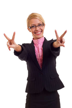 Happy business woman smiling and victory gesture, isolated photo