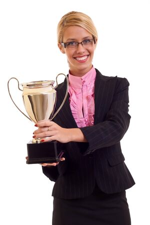Happy business woman holding a trophy in her hand, isolated photo