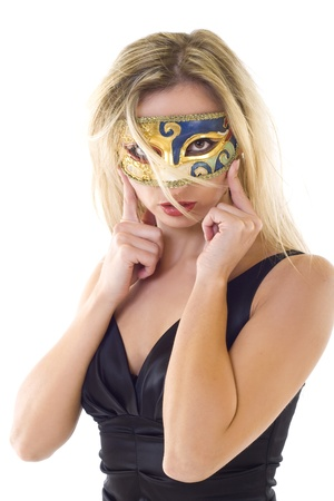 Beautiful young woman in carnival mask over white Stock Photo - 8590011