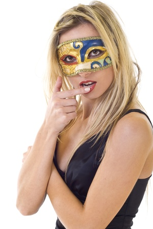 nice masked blond woman with her finger on the lips, over white photo