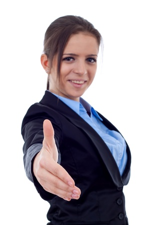 Handshake - Business woman offering a business deal, focus on hand Stock Photo - 8709161