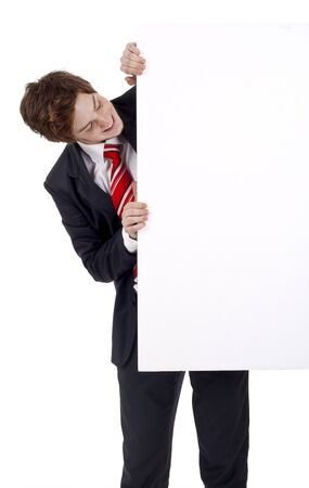 business man displaying a banner add,  isolated over white photo