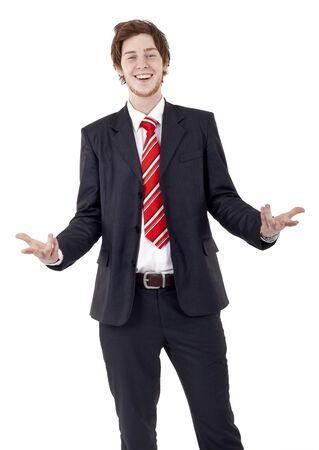 Approachable young business man with open arms isolated  photo