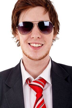 malefactor: Smilig business man with sunglasses, over white