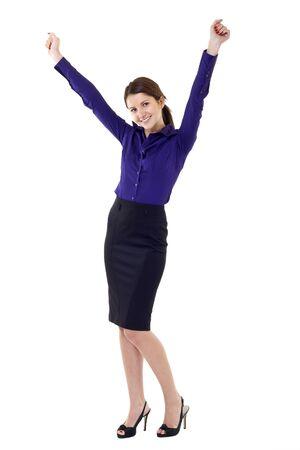 beautiful business woman winning isolated on white background photo