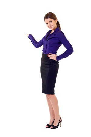 presenting: Business woman presenting something imaginary over white  Stock Photo