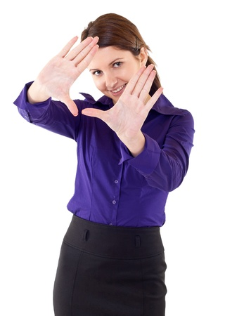 Business woman showing framing hand gesture - isolated on white  photo