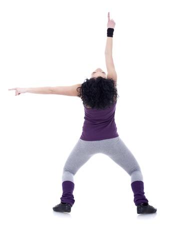 headbanging: Back of a young nice girl dancing modern dances  Stock Photo