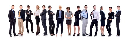 8937204: business team formed of young business men and business women standing over a white background