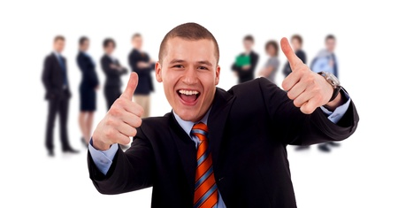 successfull: Successfull business man givinng thumbs up for his team Stock Photo