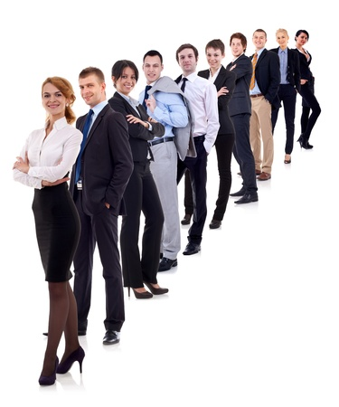 businessteamwork: business woman and her team isolated over a white background