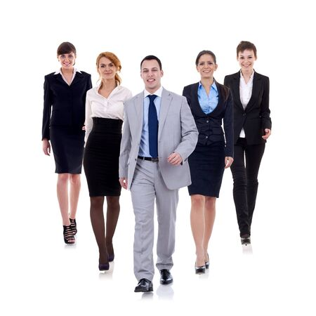 business man walking and leading his team isolated over a white background  photo