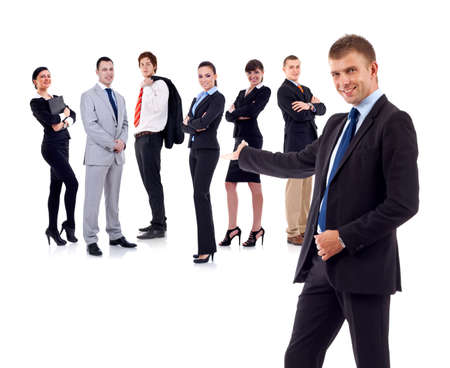 presenting: businessman presenting his team isolated over a white background