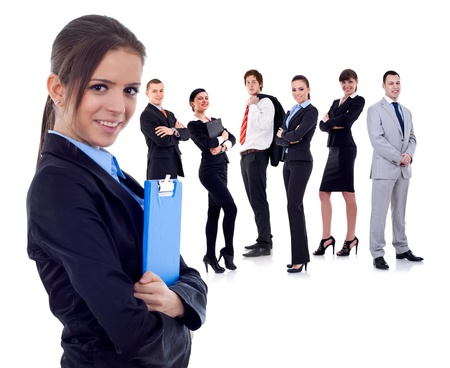 business team with a businesswoman holding a clipboard - isolated over a white background  photo
