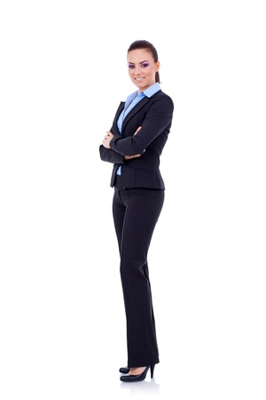 woman full body: Full body portrait of business woman with crossed arms, isolated on white