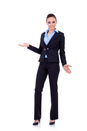 greeting people: Friendly smiling business woman welcoming. Isolated over white background  Stock Photo