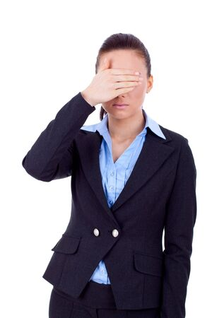 business woman in the See No Evil pose over white  photo