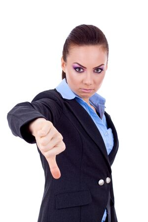 disapproving: Pollice gesticolare con donna a Young business verso over white