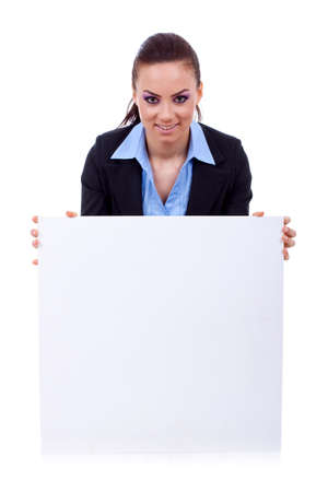 Young happy secretary over white board , isolated Stock Photo - 8937746
