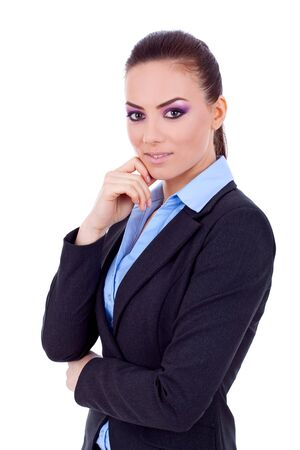 Portrait of a beautiful young business woman thinking against white background  photo