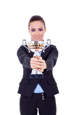 picture of a business woman handing out a gold trophy over white  Stock Photo - 8938641