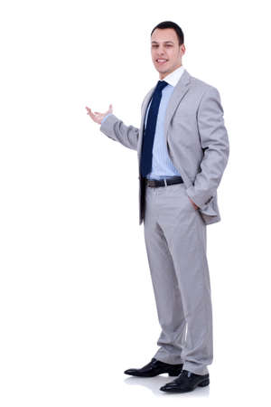 Happy business man presenting and showing with copy space for your text isolated on white background Stock Photo - 8937718