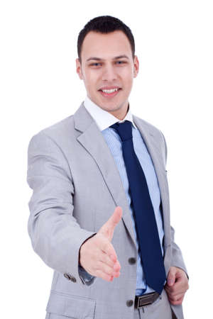 Businessman offering a handshake and welcoming, over white Stock Photo - 8938668