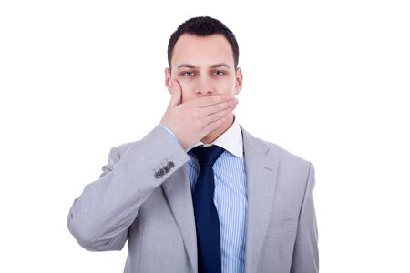 business man making the speak no evil gesture over white Stock Photo - 8937004