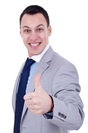 happy business man with thumbs up, over white photo