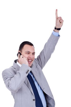 bandwagon: happy business man with cellular phone winning over white