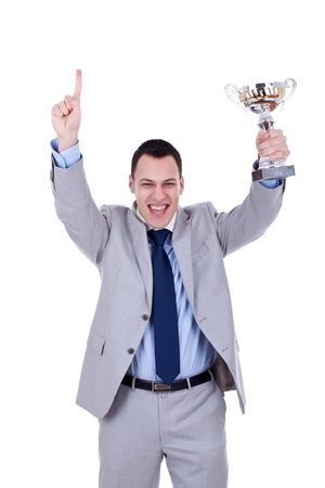 Happy business man holding a trophy aloft over white Stock Photo - 8938660